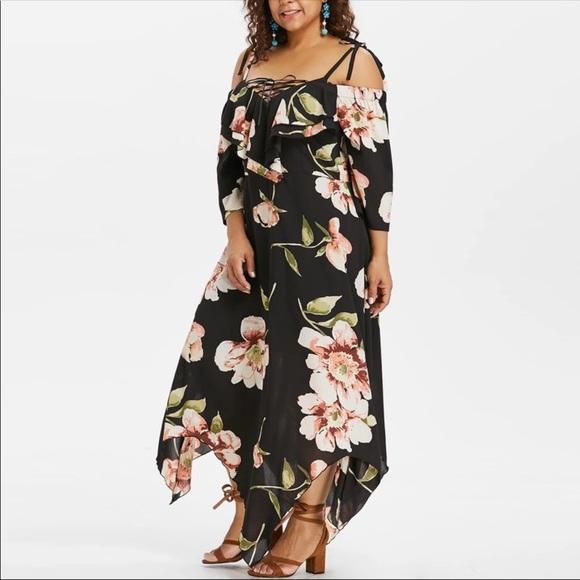 Elegant Floral Off Shoulder Maxi Dress 14W 16W NWT